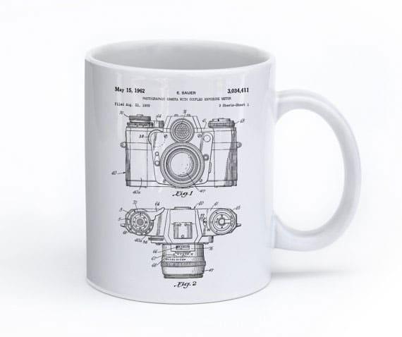 Camera coffee mug from Patent Prints on etsy