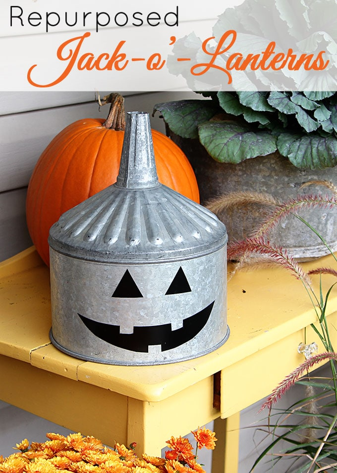 A super cute repurposed Jack-o'-Lantern for Halloween made from a galvanized funnel. A quick and easy DIY project for fall!