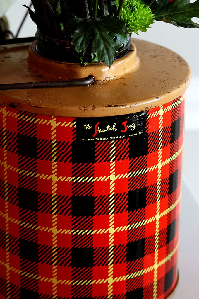 A vintage Skotch Kooler plaid jug makes a pretty good repurposed vase when in a pinch.  You gotta love a good budget friendly upcycled DIY project.