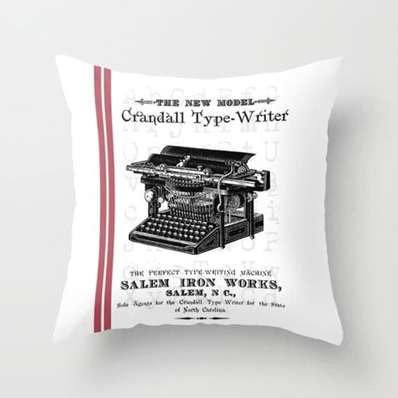 Typewriter pillow cover from Aditit