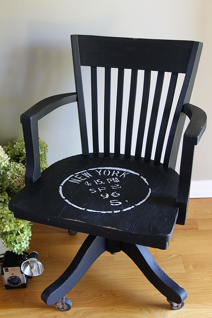 Breathing New Life Into An Oak Bankeru0027s Chair With Chalk Paint And A  Stencil. A