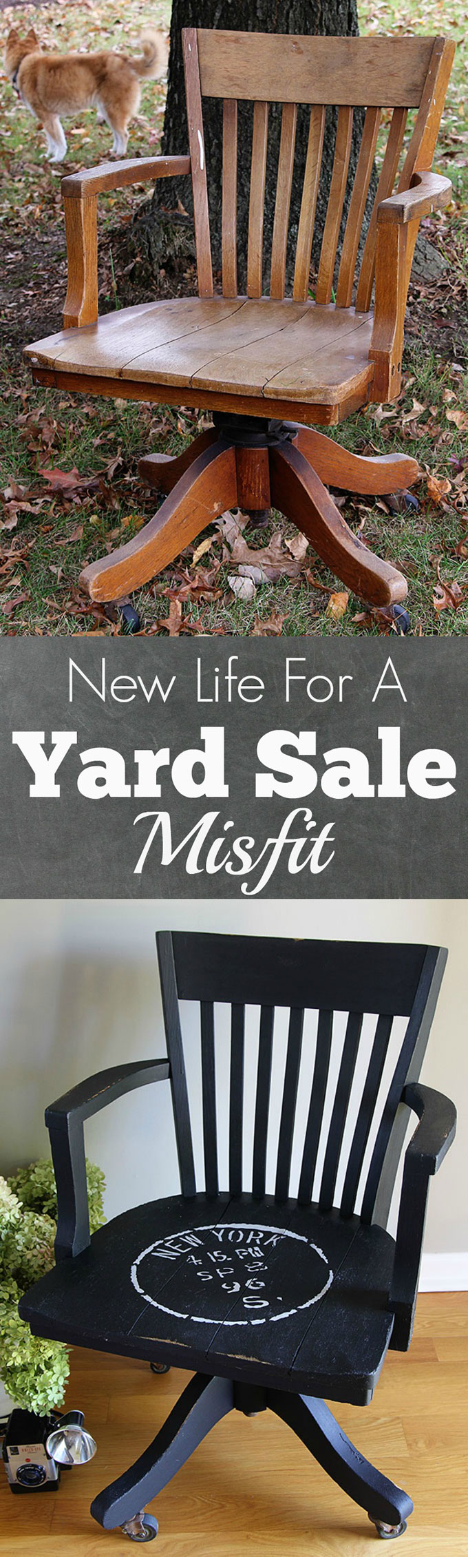 Breathing new life into an oak banker's chair with chalk paint and a stencil. A simple DIY project that saved this tired yard sale find from an early death.