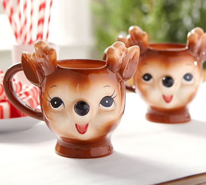 Vintage inspired reindeer mugs