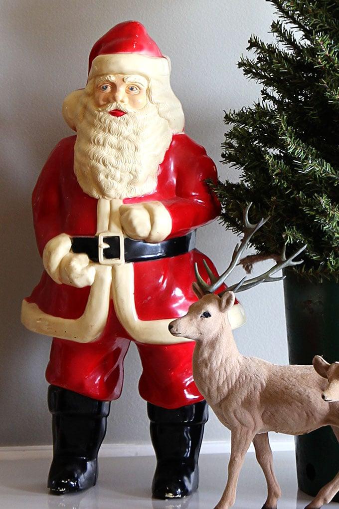 Vintage plastic Santa and flocked reindeer