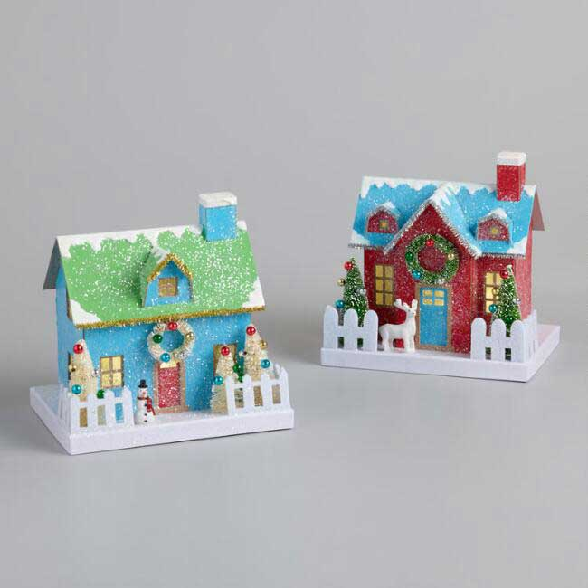 Retro style Christmas putz houses