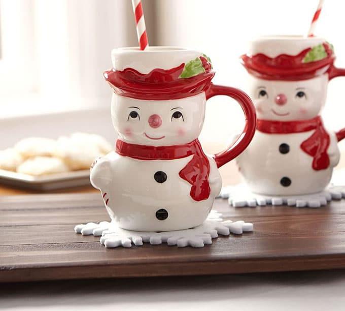 Vintage inspired snowman mugs