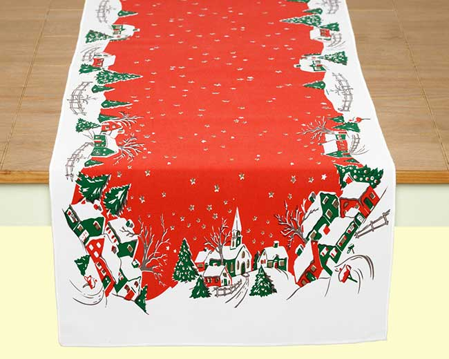 Retro styled Christmas tablecloth runner