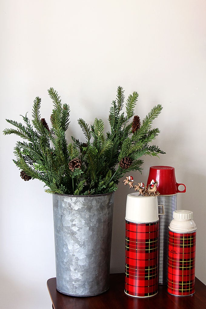 Vintage plaid thermoses - LOTS of unique ideas and inspiration for using plaid Christmas decor in your home for the holidays, including both buffalo check and traditional plaids.