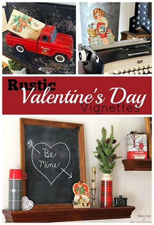 Rustic Valentine's Day chalkboard vignette