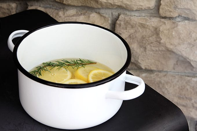 Lemon and rosemary potpourri simmering on the stove