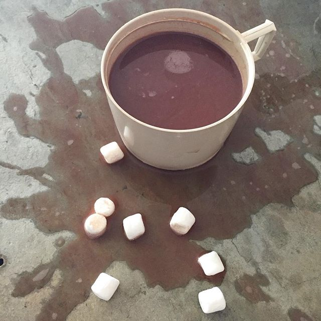 Spilled hot cocoa