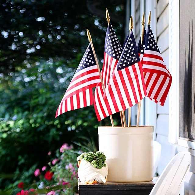 Flags in a crock for patriotic decor
