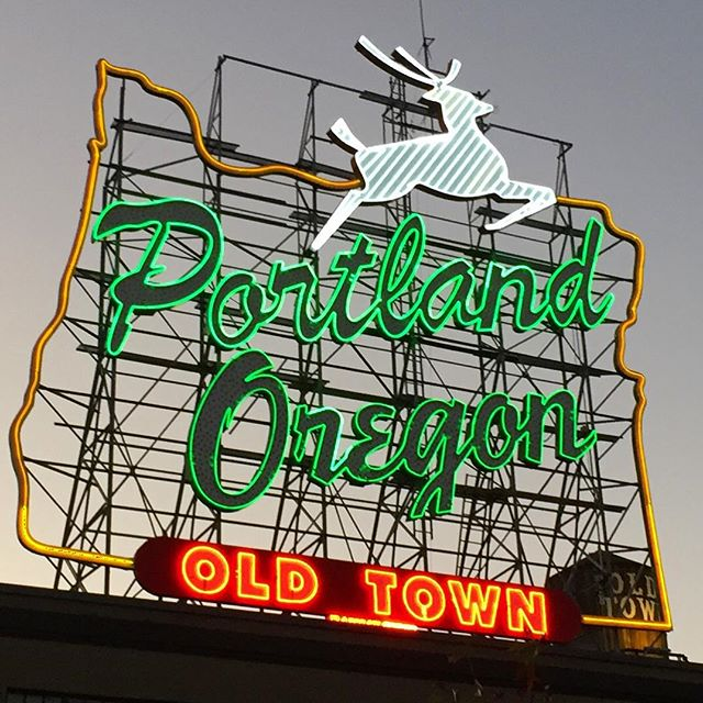 Portland Oregon Old Town deer sign