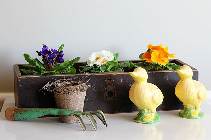 Decorating with flowers is a pretty way to add farmhouse decor to your home. Use repurposed items as planters and vases for that Fixer Upper farmhouse look.