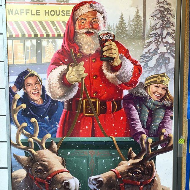 Vintage Santa poster at Waffle House