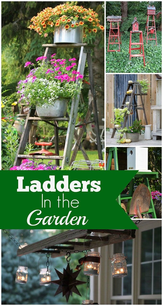 Wooden Ladders As Garden Art - House of Hawthornes