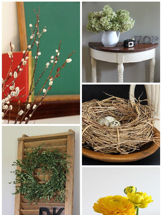 Cozy up your home with these farmhouse style spring decorating ideas using vintage items easily found at thrift stores or in the farmyard, or even online.