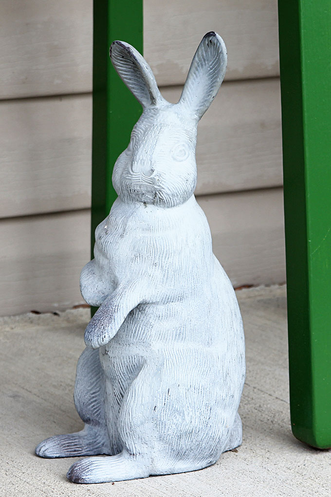 Concrete Bunny Used On A Spring Front Porch