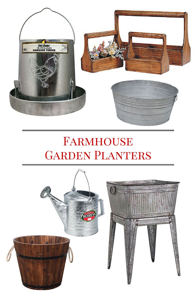 Great ideas for where to buy Farmhouse Style garden planters for your garden, porch and patio this summer.