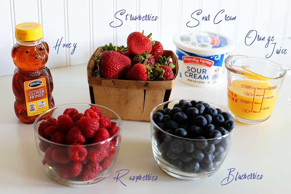 Ingredients to make a summer berry salad.
