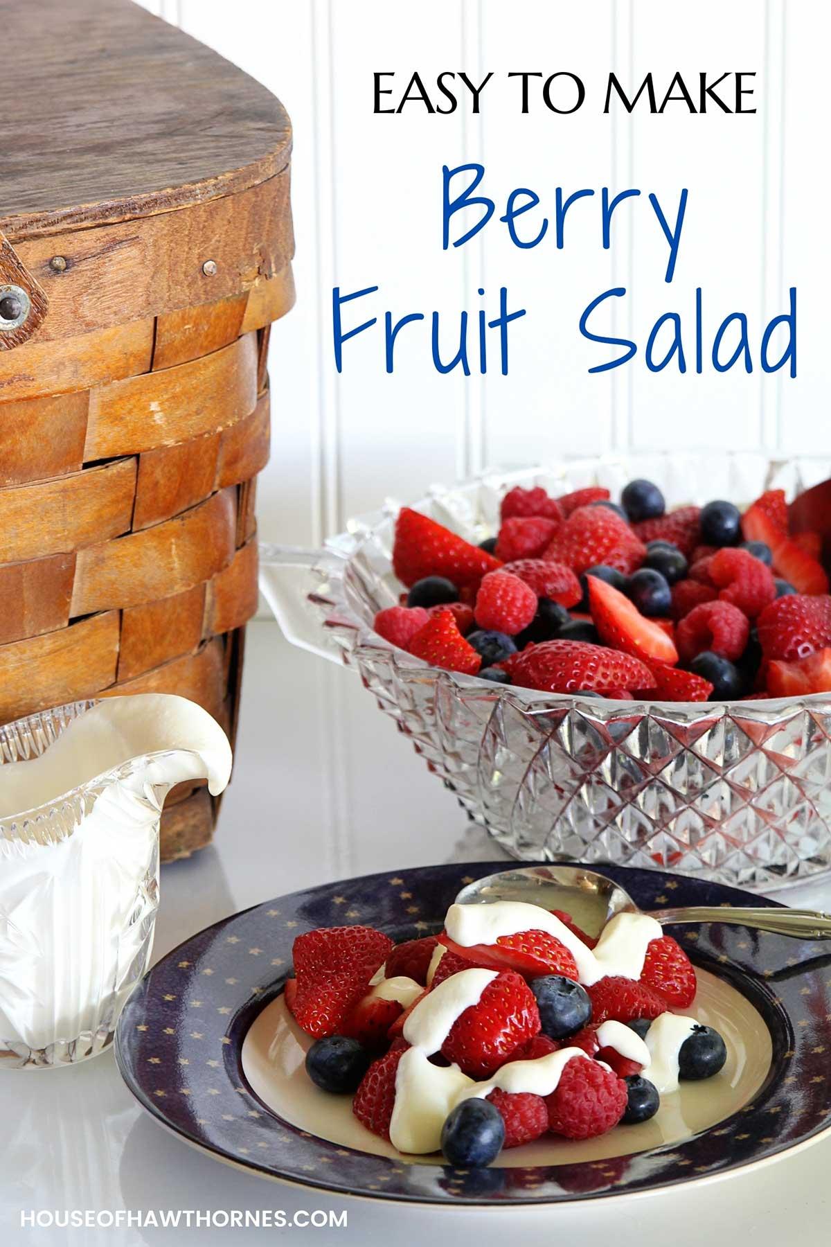 Pinterest image for berry fruit salad.