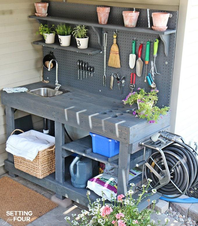 Superb Diy Potting Bench Ideas House Of Hawthornes Evergreenethics Interior Chair Design Evergreenethicsorg