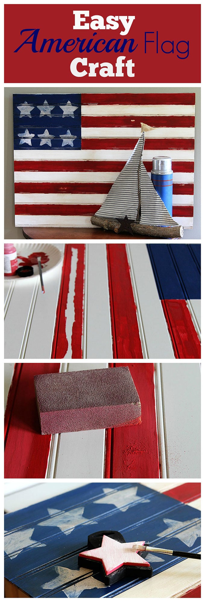 This American flag craft project is super cute and EASY to make . A quick patriotic DIY project for your 4th of July home decor. Did I mention it's easy?
