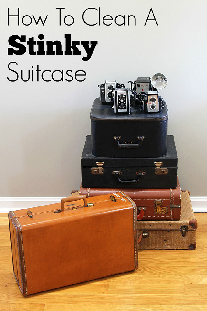 Tips for cleaning vintage suitcases both inside and out. Removing odors from vintage luggage is easier than you think! #cleaningtips #cleaning #vintagehomedecor #retrodecor