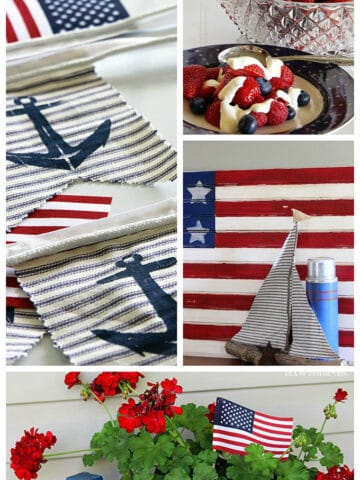 My top 10 patriotic projects, recipes and home decor ideas for the 4th of July, including desserts. potato salads, flag decor and more.
