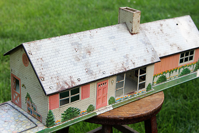 Vintage Tin Dollhouse Repurposed Into Birdhouse House Of