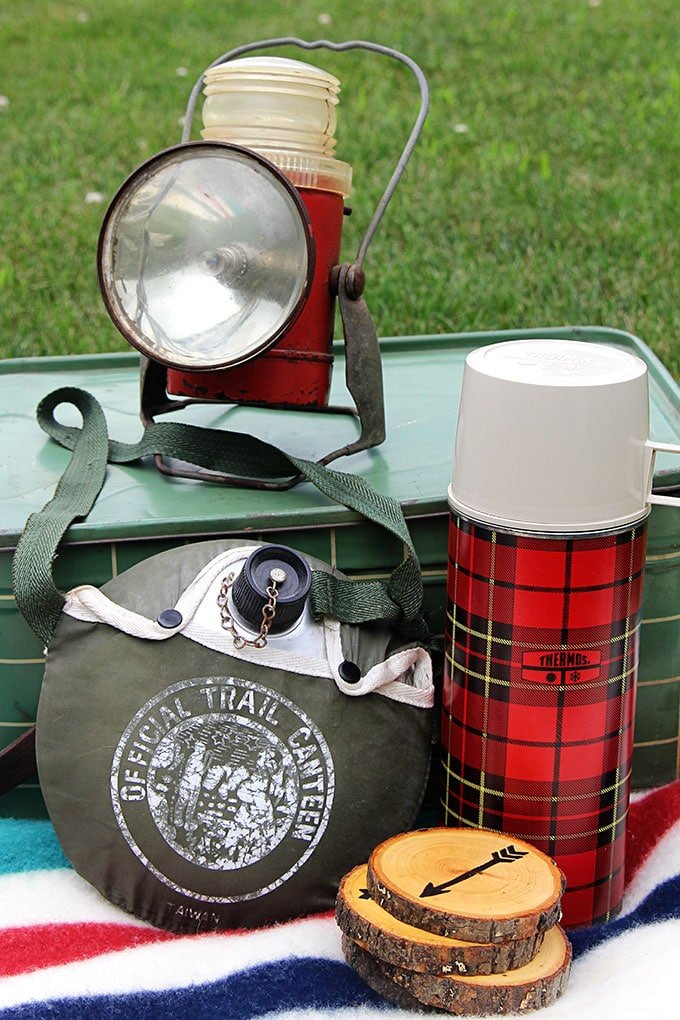 Vintage camping and picnic gear