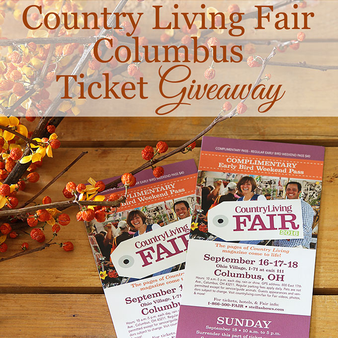 Your chance to win tickets to the County Living Fair in Columbus Ohio (Sept 16, 17 & 18, 2016). Over 200 vendors selling antiques, vintage and one of a kind finds. Plus seminars and how-to clinics.