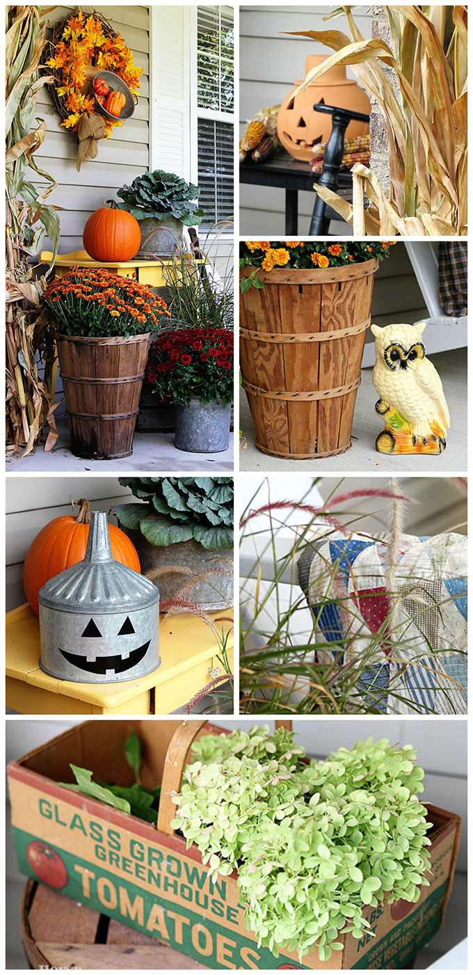 LOTS of fall porch decor ideas and inspiration. Your porch is the first impression people get of your home, so make it a festive one! Whether you love traditional, farmhouse or eclectic decor you'll find inspiration through this girl's festive and unique look back at her fall porch decor over the years!