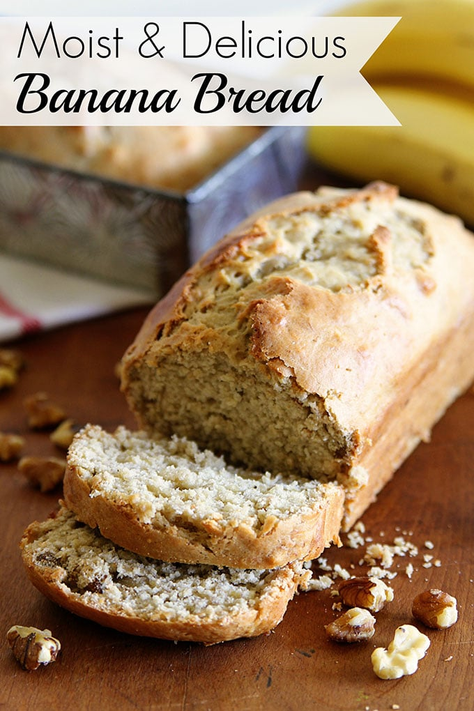 This delicious and moist banana bread recipe is an updated spin on a classic Betty Crocker banana bread recipe. Using sour cream and brown sugar for a rich slice of old fashioned banana bread goodness!