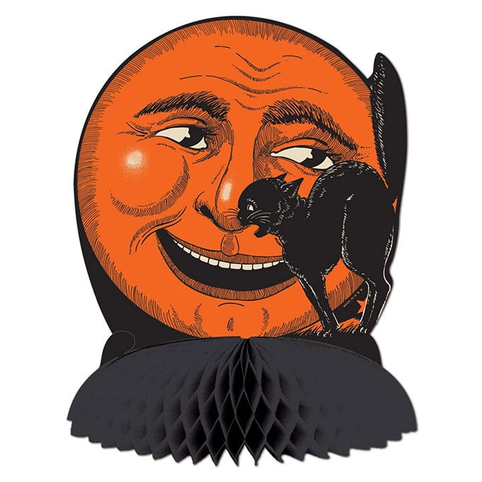 Beistle Cat And Moon Centerpiece - Vintage looking Beistle Halloween decor is a fun retro way to decorate for fall. Lots of traditional orange and black, witches, skeletons and black cats.