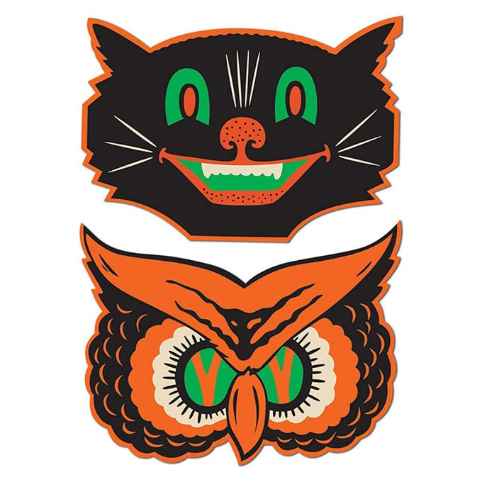 Beistle Cat And Owl Cutouts - Vintage looking Beistle Halloween decor is a fun retro way to decorate for fall. Lots of traditional orange and black, witches, skeletons and black cats.