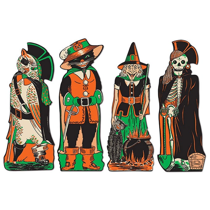 Beistle Halloween Paper Decorations - Vintage looking Beistle Halloween decor is a fun retro way to decorate for fall. Lots of traditional orange and black, witches, skeletons and black cats.
