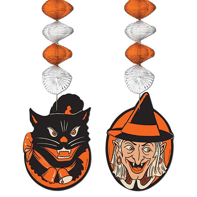Beistle Halloween Character Danglers - Vintage looking Beistle Halloween decor is a fun retro way to decorate for fall. Lots of traditional orange and black, witches, skeletons and black cats.