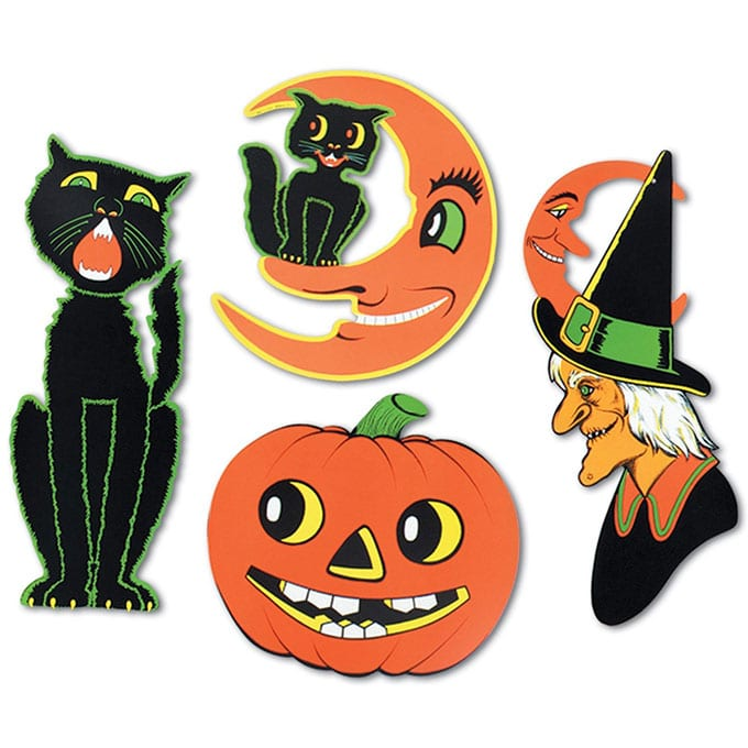 Beistle Halloween Cutouts - Vintage looking Beistle Halloween decor is a fun retro way to decorate for fall. Lots of traditional orange and black, witches, skeletons and black cats.