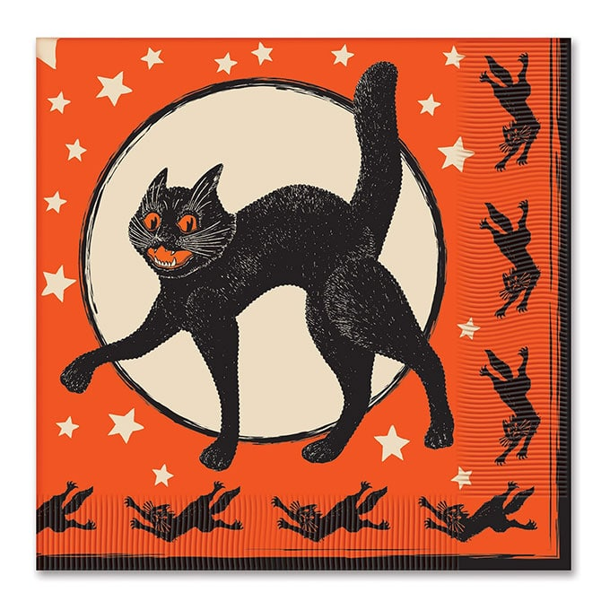 Beistle Halloween Paper Napkins - Vintage looking Beistle Halloween decor is a fun retro way to decorate for fall. Lots of traditional orange and black, witches, skeletons and black cats.