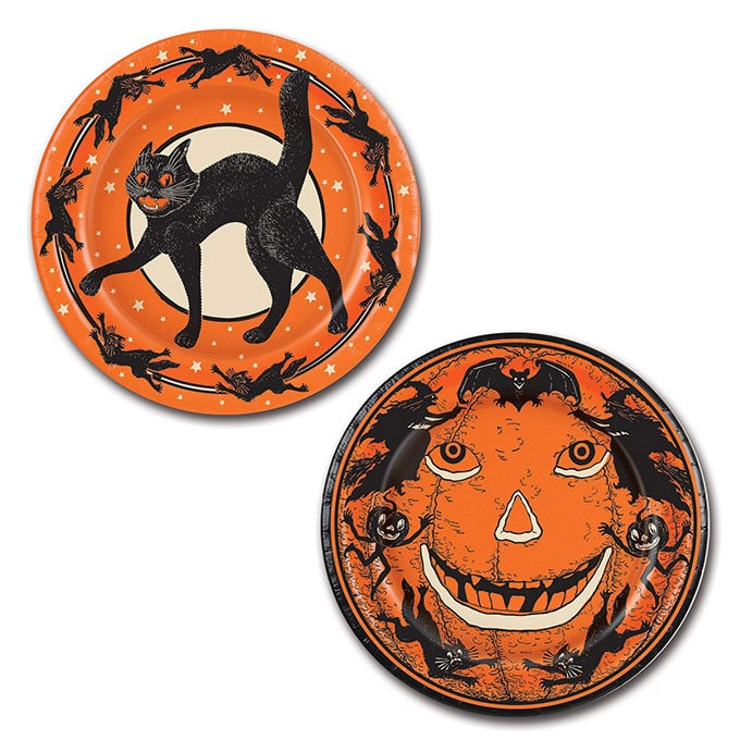 Beistle Halloween Party Plates - Vintage looking Beistle Halloween decor is a fun retro way to decorate for fall. Lots of traditional orange and black, witches, skeletons and black cats.