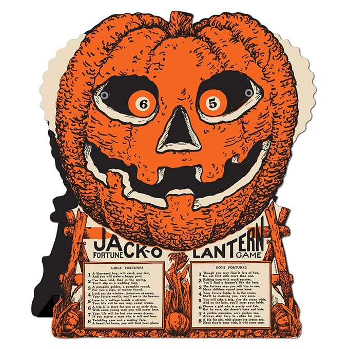 Beistle Jack-o-Lantern Fortune Game - Vintage looking Beistle Halloween decor is a fun retro way to decorate for fall. Lots of traditional orange and black, witches, skeletons and black cats.