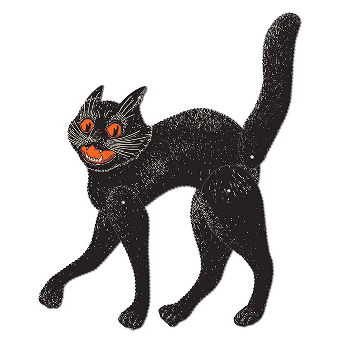 Beistle Cat - Vintage looking Beistle Halloween decor is a fun retro way to decorate for fall. Lots of traditional orange and black, witches, skeletons and black cats.