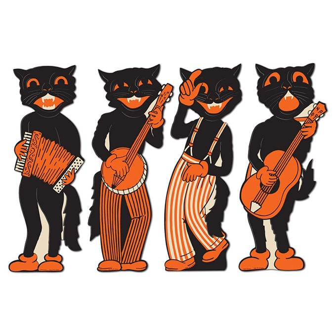 Beistle Cat Cutouts - Vintage looking Beistle Halloween decor is a fun retro way to decorate for fall. Lots of traditional orange and black, witches, skeletons and black cats.