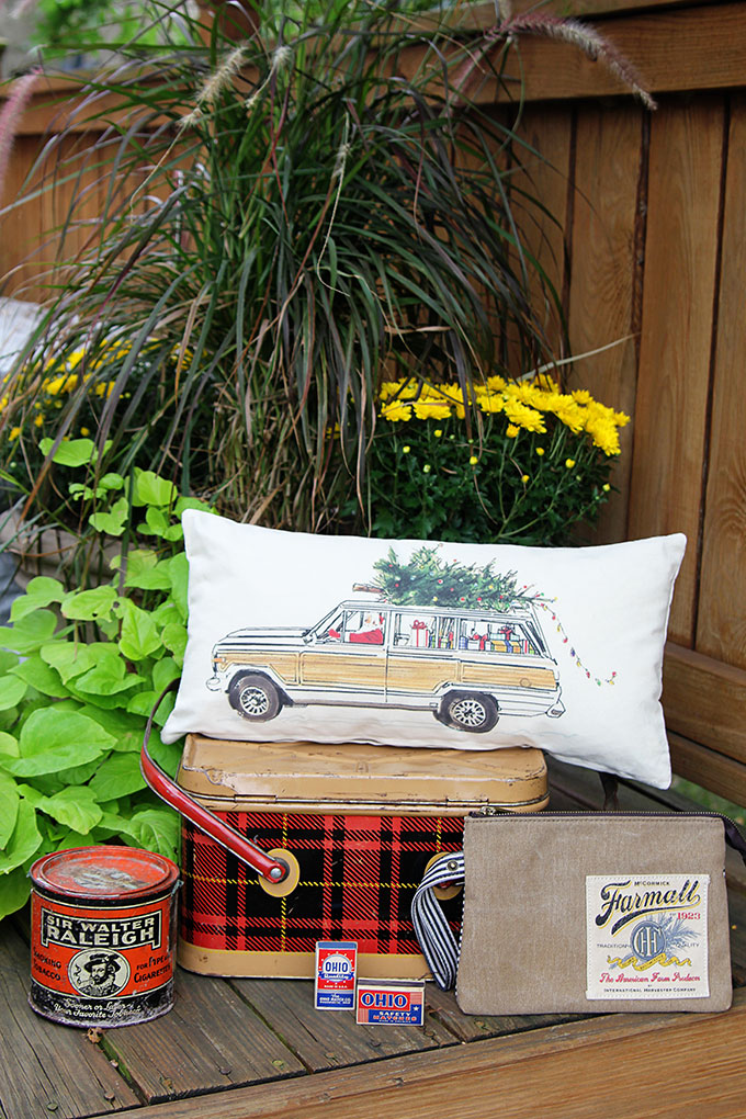 Vintage plaid tin picnic basket - LOTS of unique ideas and inspiration for using plaid Christmas decor in your home for the holidays, including both buffalo check and traditional plaids.