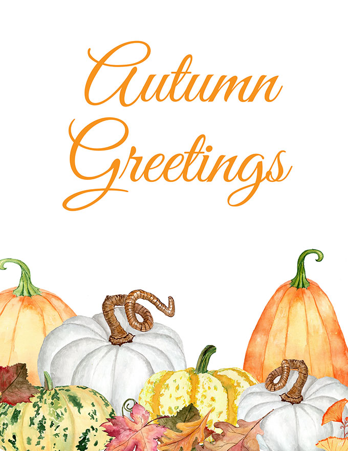 photograph about Autumn Printable called Cost-free Drop Printable: With Watercolor Pumpkins - Place of