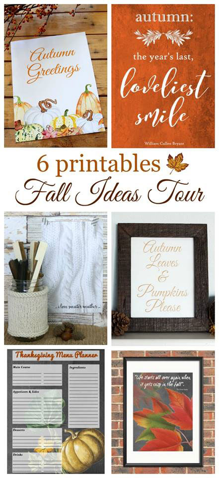 6 fabulous FREE fall printables you can download for instant fall decor. Includes a Thanksgiving menu planning guide!