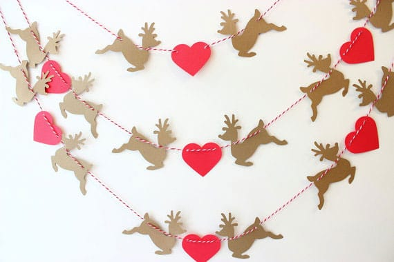 Reindeer and hearts Christmas banner from Mailbox Happiness on etsy
