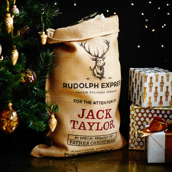Personalized Christmas sack from Handmade Christmas Co on etsy