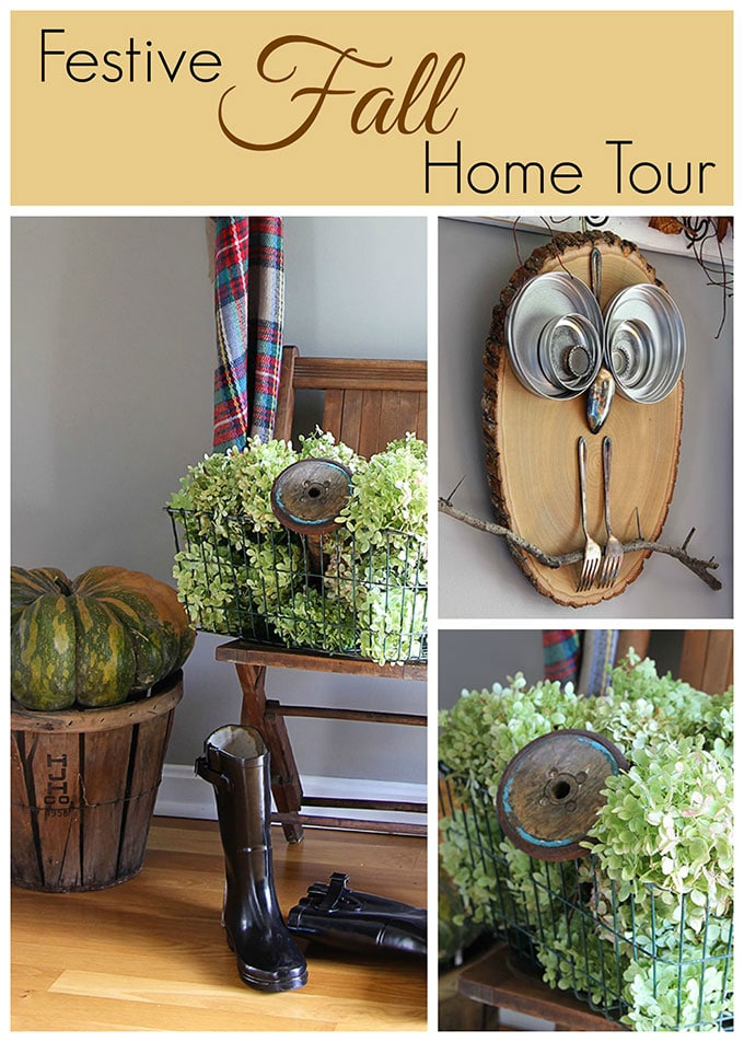 LOTS of fun fall home decor inspiration, including quick and easy ideas for fall decor in the entryway using hydrangeas, pumpkins and thrift store finds.